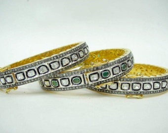 Diamond polki bangle Queen of your world 3.2 carat diamond slice rose cut kundan style sterling silver gold custom hinge bracelet bangle cuf