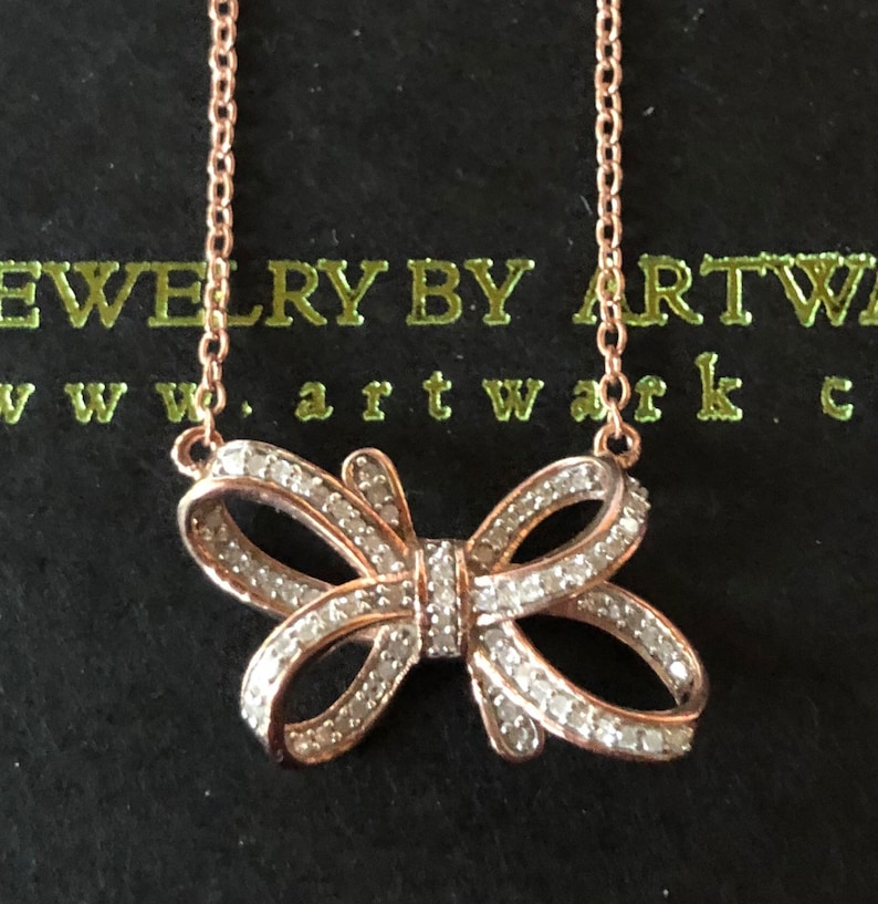 Rose Gold over sterling silver diamond pave diamond bow image 0