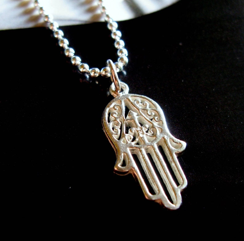 Hamsa Hand necklace. Sterling Silver. Mens. image 0