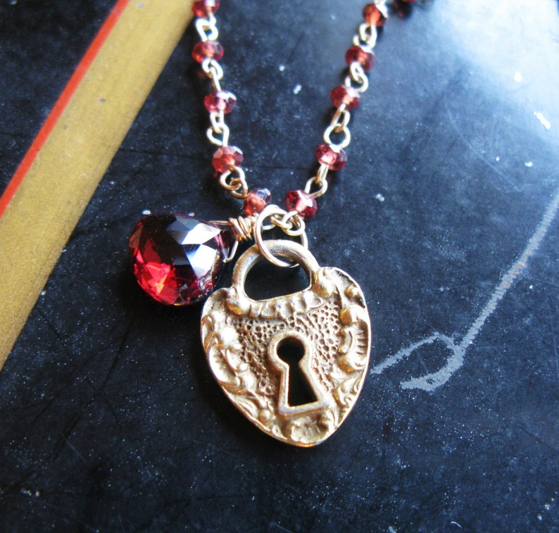 Old fashioned love antique heart padlock charm Grade AA image 0