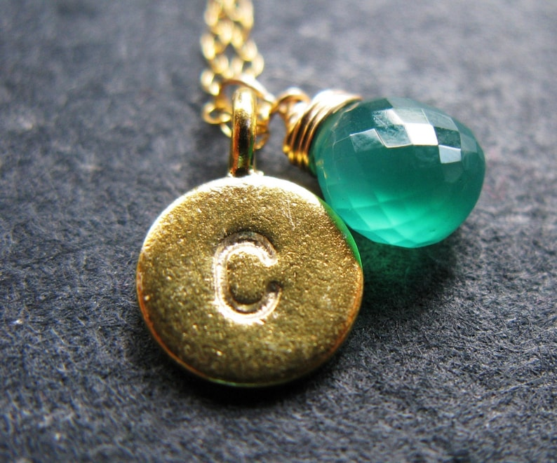 My Name is 24K Gold vermeil and emerald green onyx May image 0