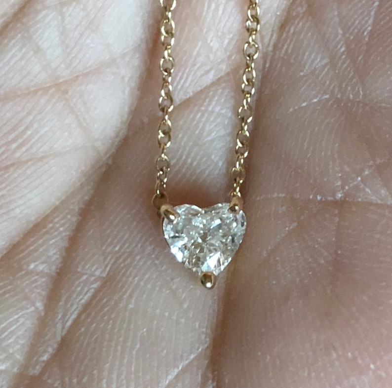 Diamond heart .50 carat 14K solid yellow gold heart shape image 0