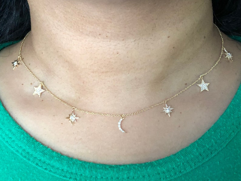 Diamond pave crescent moon and stars shaker choker necklace image 0