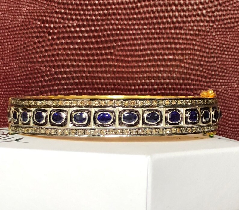 Blue Sapphire rosecut diamond bangle beacelet sterling silver image 0