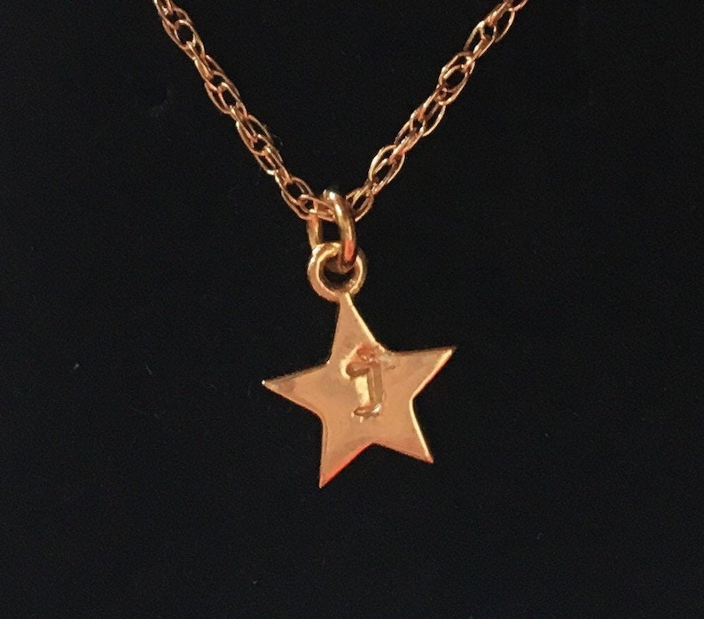 Tiny Solid 14K yellow Gold Hamilton star custom handstamped image 0