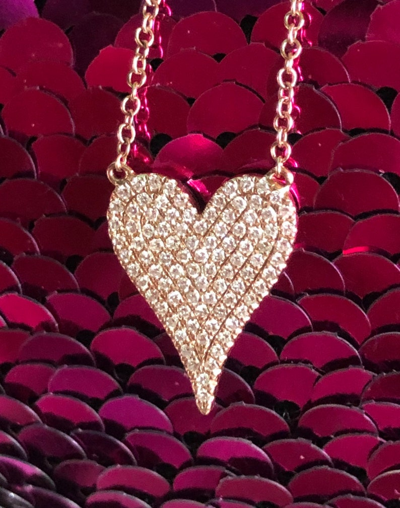 Diamond heart necklace pendant 14K rose Gold F VS pink gold image 0