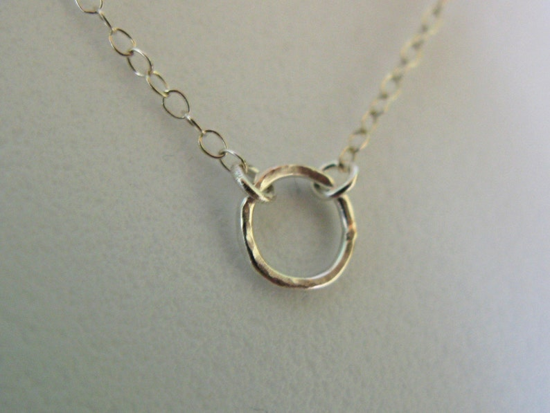 Sterling Silver tiny hammered circle o eternity karma necklace image 0