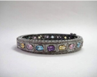 Multi gemstone rosecut diamond citrine amethyst blue topaz ovals custom bangle bracelet antiqued vintage style