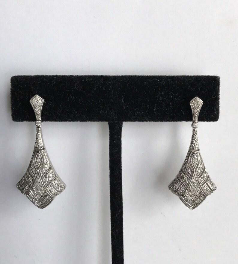 Diamond edwardian style fan shaped dangle earrings image 0
