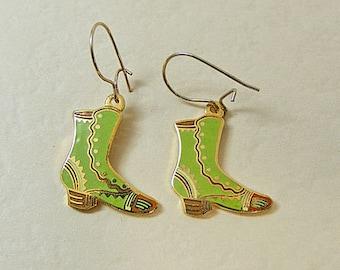 Vintage Aviva Earrings Green Boot  Enamel Cloisonne 23-2