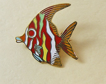 Vintage Enamel  Pin Tropical Fish Red Eye Mother Nature Series Cloisonne 17-3