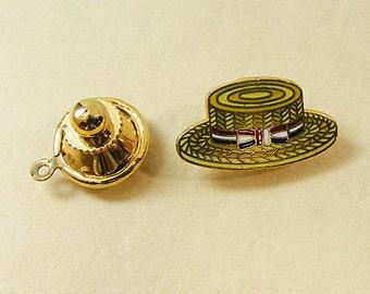Vintage Aviva Straw Hat Enamel Scatter Pin Lapel Pin Clutch Pin  Enamel Cloisonne 26-4