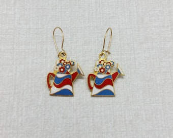 Vintage Aviva Earrings Flowers in Watering Can Red White and Blue Patriotic  Enamel Cloisonne 30-2