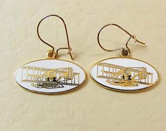 Vintage Aviva Earrings Plane/Glider  Enamel Cloisonne 13-2