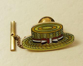 Vintage Aviva Tie Tack Straw Hat Enamel Cloisonne 26-5