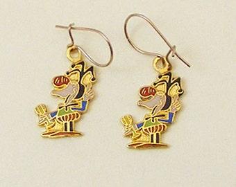 Wizard of Id Vintage Enamel Earrings Jester Bung 64-2