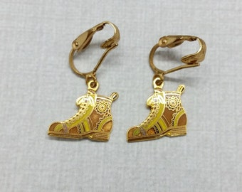 Vintage Aviva Earrings Brown Boot Clip Style Enamel Cloisonne  24-2b