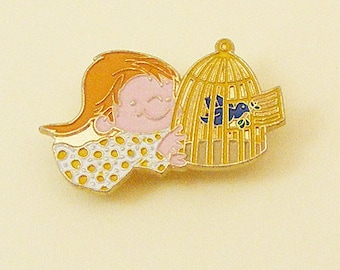Vintage Aviva Kidlinks by Marty Links Child with Bird Cage and Bluebird Enamel Pin 58-3