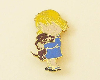 Vintage Aviva Kidlinks by Marty Links Enamel Pin Child with Puppy 60-3