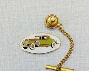 Vintage Aviva Green Car Tie Tack 20s 30s style side mount spare tire  Enamel Cloisonne 14-5