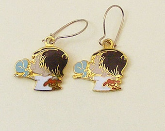 Vintage Aviva Kidlinks by Marty Links Child with Mouse and Puppy Enamel Earrings 66-2