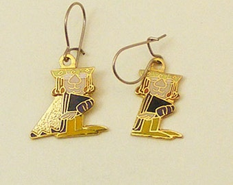 Wizard of Id Vintage Enamel Earrings  King 62-2