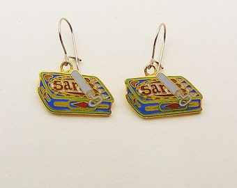 Vintage Aviva Can of Sardines Enamel Earrings Enamel Cloisonne  106-2