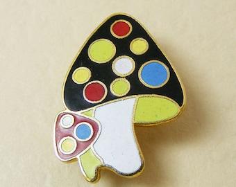 Vintage Pin Mushrooms Black with Polka Dots Enamel Cloisonne  28-3