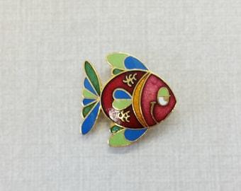 Vintage Aviva Enamel Pin Cartoon Fish Mother Nature Series Cloisonne 19-1