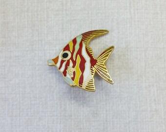 Vintage Aviva Pin Tropical Fish Black Eye Mother Nature Series  Enamel Cloisonne 18-3