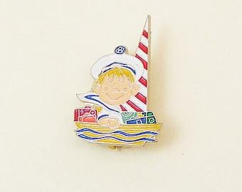 Vintage Aviva Kidlinks by Marty Links Child on Sailboat Enamel Pin 69-3
