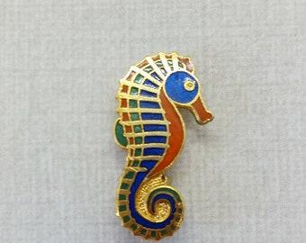 Vintage Aviva Pin Seahorse Mother Nature Series Hinge Pin back  Enamel Cloisonne 20-3
