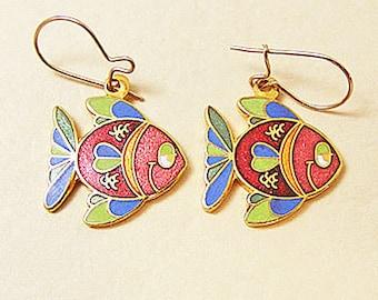 Vintage Aviva Red and Blue Cartoon Fish Enamel Earrings  Enamel Cloisonne 19-2
