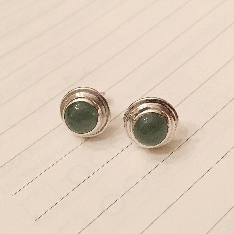 Little jade stud earrings sterling silver post earrings with moss green natural jade bezel set cabochons