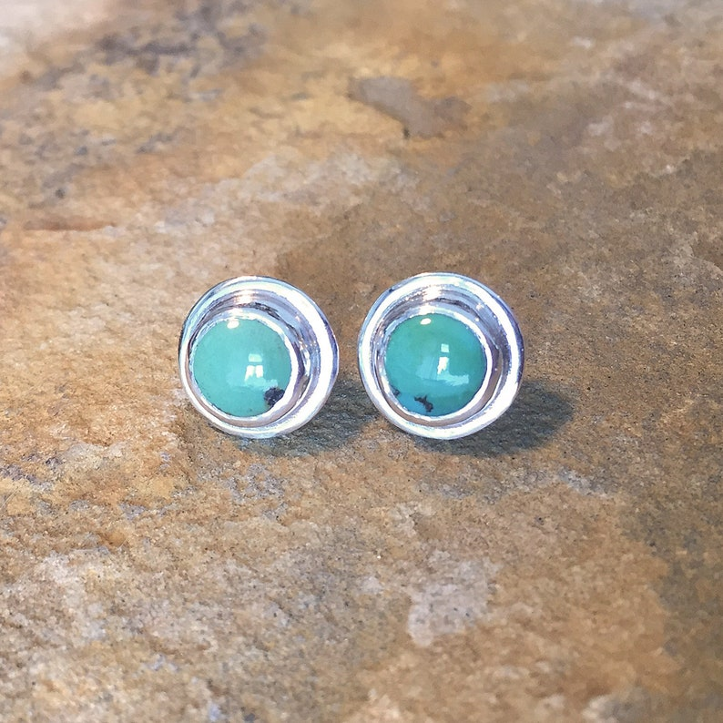 sterling silver post earrings with chinese turquoise bezel set cabochons Turquoise stud earrings