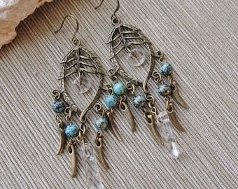 Antique Brass Beaded Chandelier Earrings, Quartz Bead Earrings, Turquoise Patina Bead Earrings, Boho, Hippie, Long Earrings, Tribal
