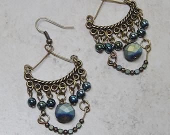Antique Brass Blue Bead Chandelier Earrings - Boho - Blue Glass Bead Earrings - Dangle Earring - Antique Brass Earrings - Hippie