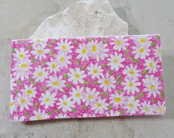 Cottage Chic,Organizer for Checks Checkbook Cover Checkbook Wallet Gift for Mom Butterfly and Floral Fabric Wallet Slim Billfold Wallet