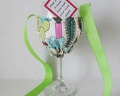 Wine Glass Holder Necklace - Succulent Fabric Glass Holder - Wine Drinkers Gift - Hands Free Wine Cozy - Wine Party Favor - Wine Tasting