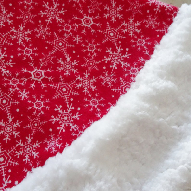 0297299ed71e5 Red and White Snowflake Flannel Santa Hat Christmas Adult