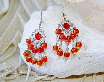 Orange Bead Chandelier Earrings, Silver Earrings, Boho, Orange Earrings, Hippie, Chandelier Earrings, Dangle Orange Glass Bead Earrings