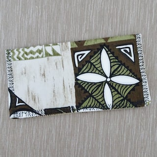 Checkbook Cover - Checkbook Wallet - Tropical Tapa Fabric - Hawaiian Fabric - Checkbook Organizer - Fathers Day Gift - Gift for Him