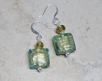 Green Lamp Work Glass Bead Earrings,Silver Beaded Earrings, Crystal Bead earrings, Green Earrings,Silver Beaded Earrings