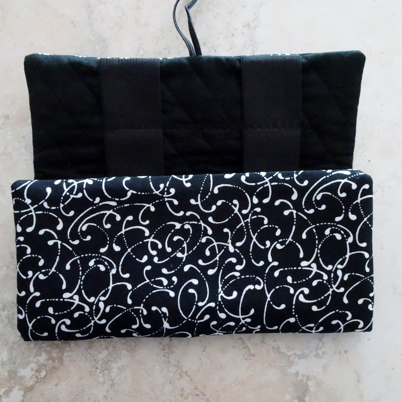 Earbud Case Cord Case Black and White Fabric Case Travel Organizer Cell Cord Organizer Tablet Cord Case Travel Gift Cord Keeper
