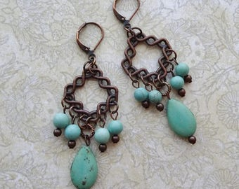 Turquoise Bead Earrings, Antique Copper Chandelier Earrings, Boho,  Magnesite Bead Earrings, Copper Earrings, Turquoise Earrings
