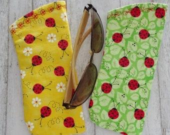 Eyeglass Case, Sunglasses Case, Ladybug Fabric Eyewear Case, Green or Yellow Lady Bug Fabric, Gift under 10, Cottage Chic, Case for Glasses