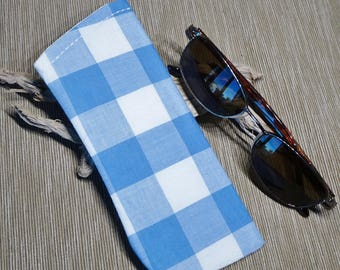 Eyeglass Case, Sunglass Sleeve, Blue Gingham Fabric Eye Glass Case, Cottage Chic, Country, Summer, Gift for Her, Case for Glasses