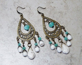 White Turquoise Chandelier Earrings - Antique Brass Chandelier Earrings - Turquoise Bead Earrings - Boho - Hippie - Southwestern