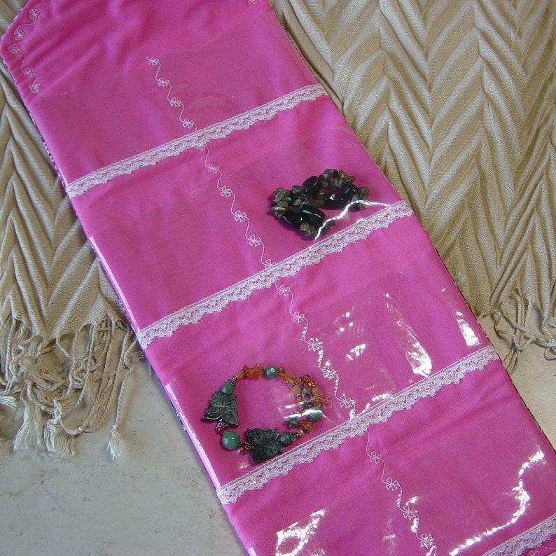Clear Pocket Jewelry Storage Tropical Jewelry Case Travel Jewelry Organizer Beach Pink Hawaiian Fabric Travel Jewelry Storage Wallet