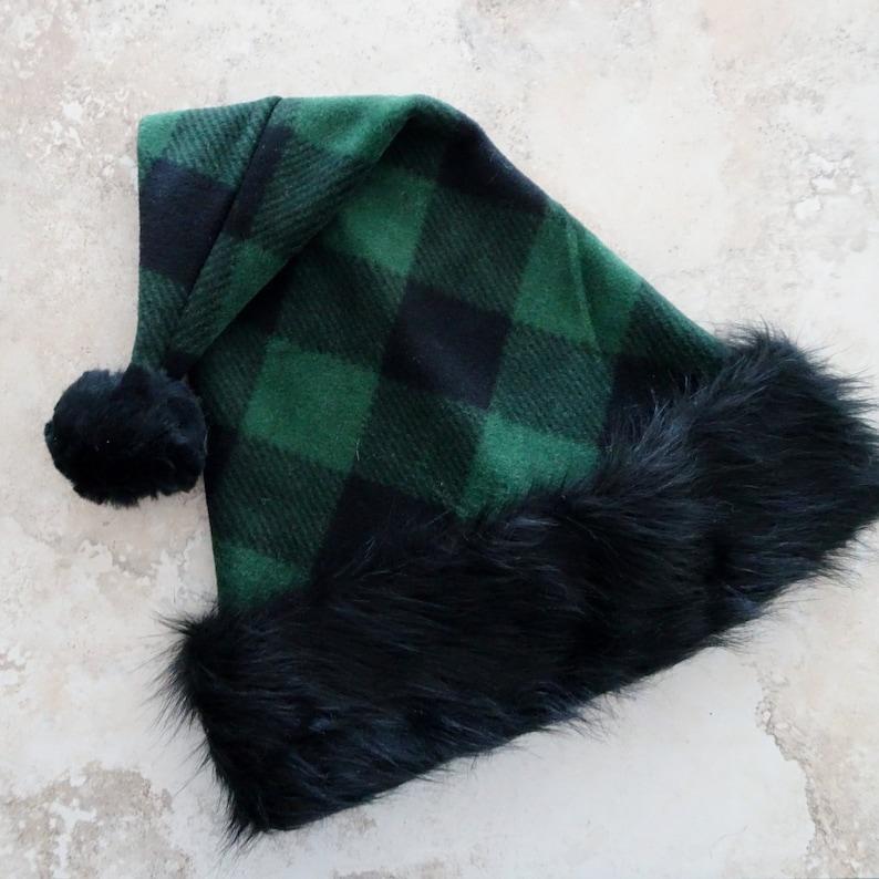 Green Check Fleece  Santa Hat Adult  or Teen Size Santa hat Rustic Christmas Celebration Hat Black /& Green Buffalo Check Bad Santa Hat